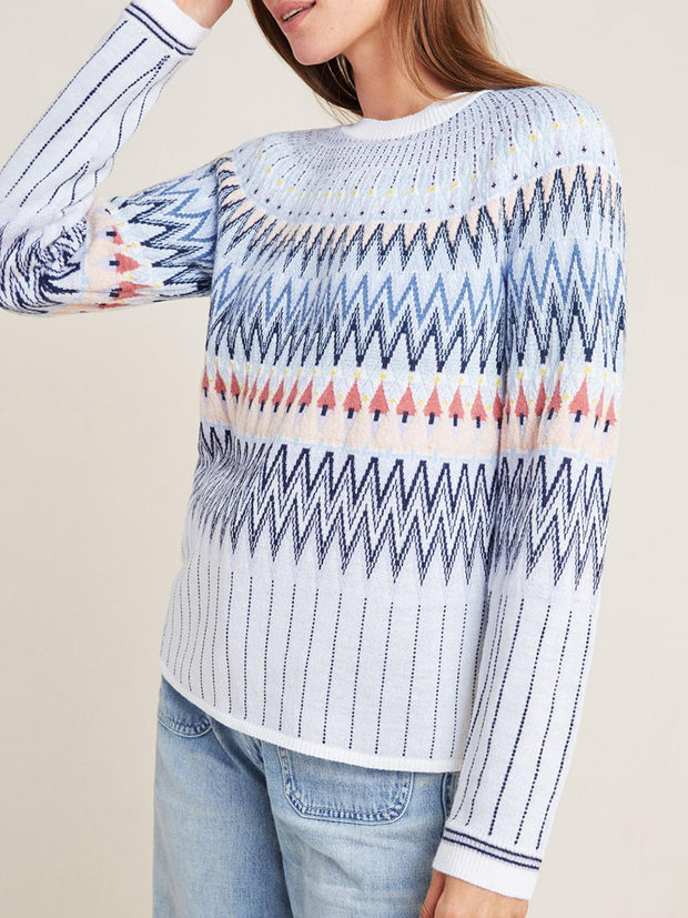 Fashion Multicolor Geometric Splice Long Sleeve Sweater