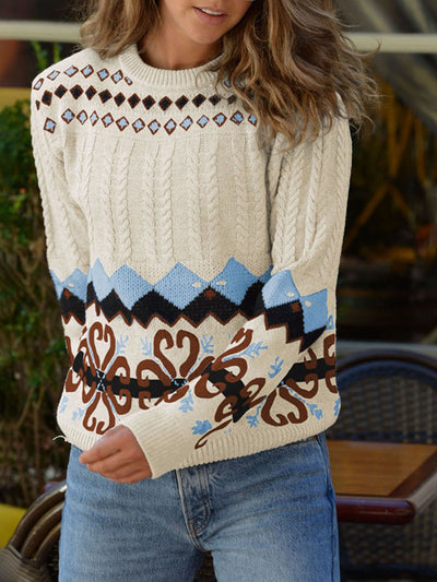 Casual Jacquard Pattern Long Sleeve Knitted Sweater