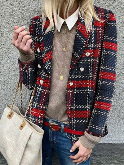 Women Suit Collar Plaid Pattern Buttoned Work Coat