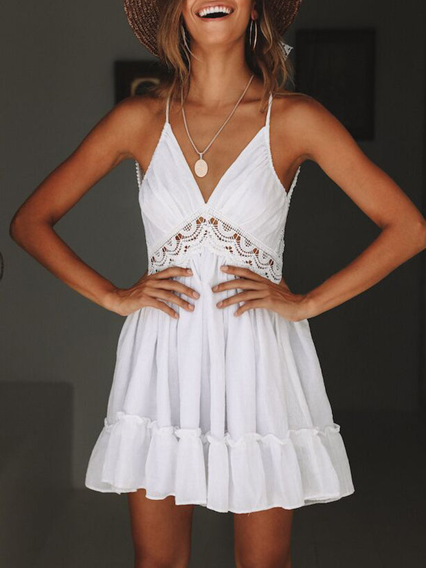 Deep V Neck Lace Tiered Ruffle Dress Open Back Mini Dress