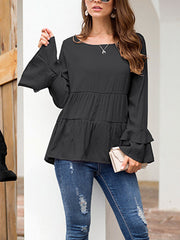 Pleated Stitching Loose Ruffled Sleeve Blouse