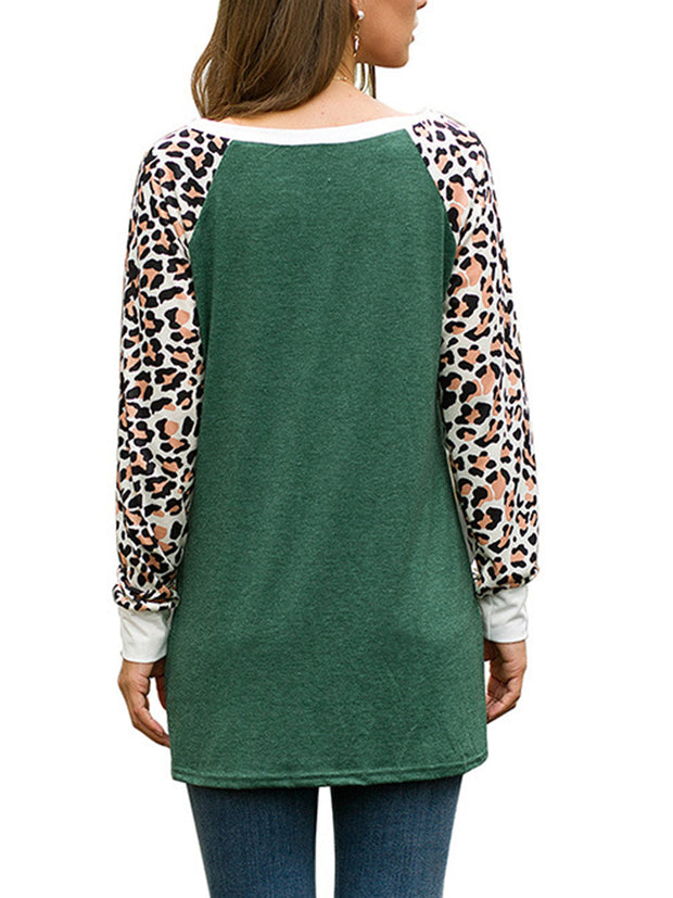Women's Casual Shirts O-Neck Leopard Print Long Sleeve Patchwork Twist Knot Tops T-Shirt