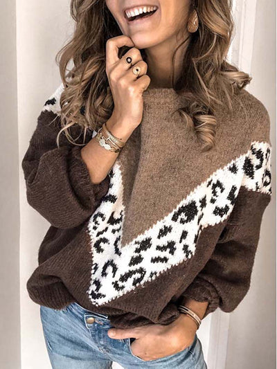 Casual Leopard Print Spliced Loose Sweater