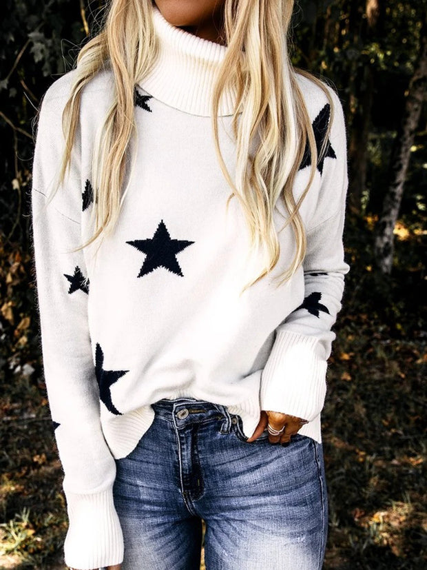 High Neck Star Pattern Long Sleeve Sweater