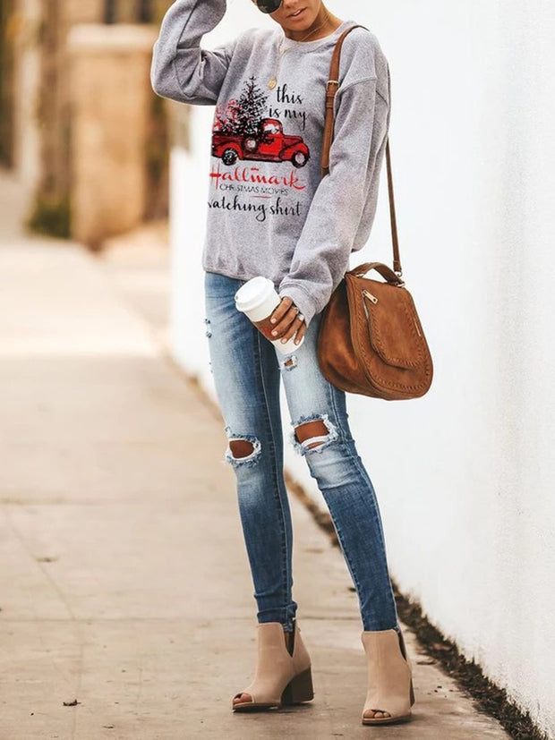 Letter Printed Round Neck Long Sleeve Sweatshirts