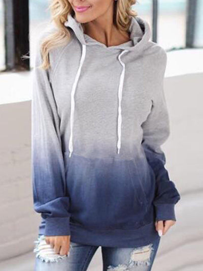 Fashion Printed Hood Pocket Long Sleeve T-shirts