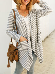 Women's Fashion Striped Hooded Knit Cardigans