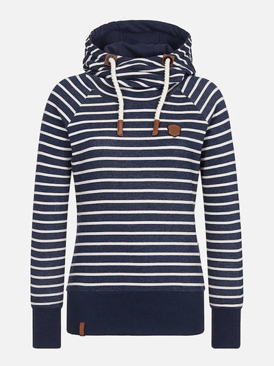 Wide Waistband Striped Hood With Drawstring Long Sleeve Hoodie