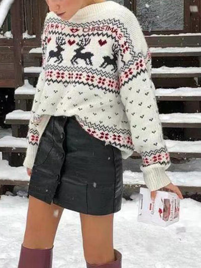 Christmas Fawn Round Neck Loose Sweater