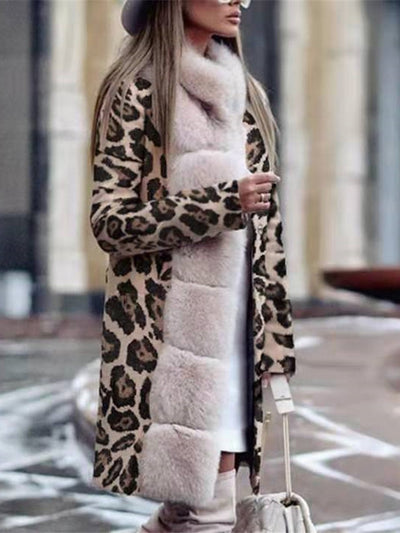 Fashion Leopard Printed Long Sleeve Long Coat