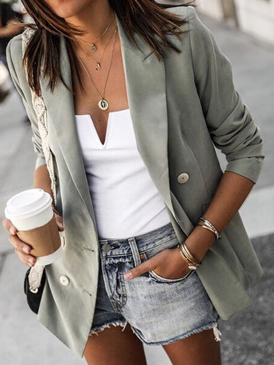 Solid Color Fashion Button Casual Small Suit Coats