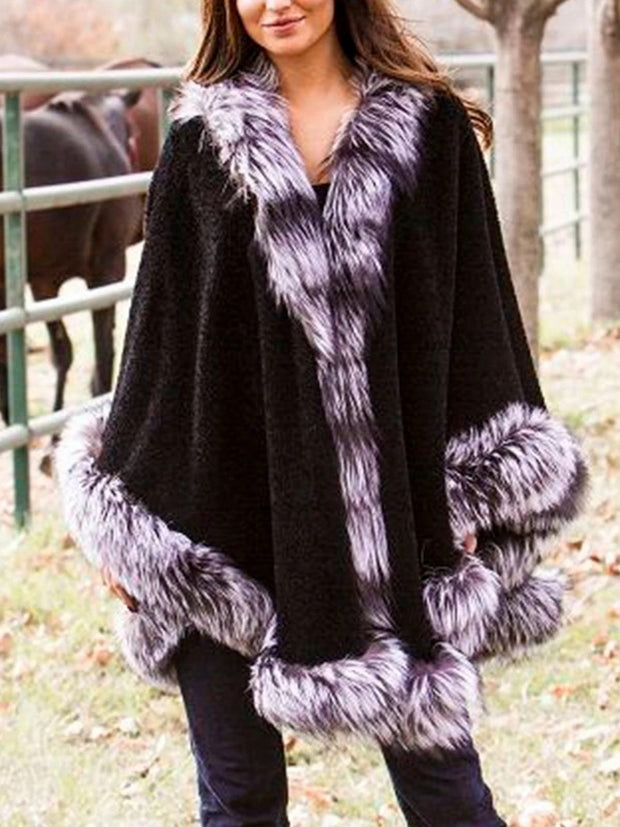 Plus Size Fur Padded Cloak Coat