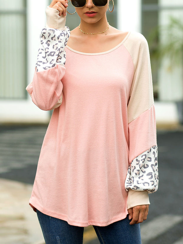 Leopard 3 Color Mosaic Loose Lantern Sleeve T-Shirt