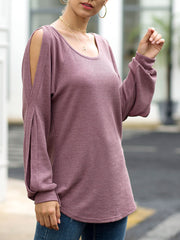 Round Neck Strapless Lantern Sleeves Waffle Knit Top