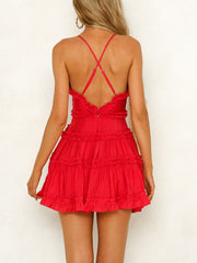 Pleated Sling High Waist Mini Dress