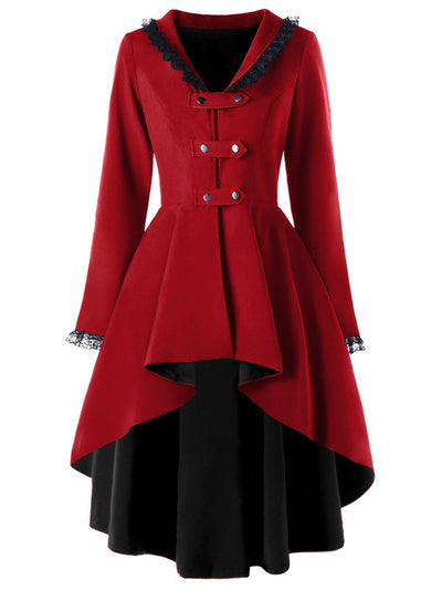 Retro Irregular Hem Swallowtail Trench Coat
