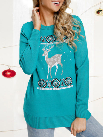 Christmas Costume Elk Print Knitted Sweater