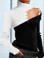 Color-block Buttoned Cowl Neck Sweater