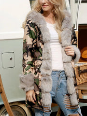 Women Camouflage Print Fur Splice Coats