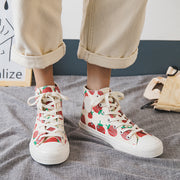 Strawberry Canvas Sneakers Lace-up Board Sneakers
