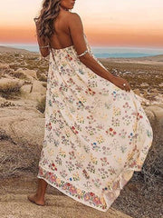 Maxi Dress with Loose Floral Printed Bohemia Spaghetti Neck