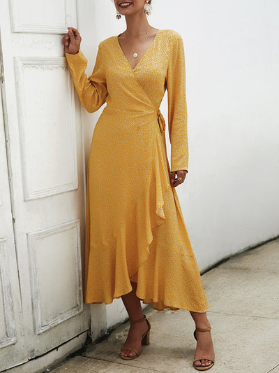 Elegant Long-sleeved New Solid Color Midi Dress