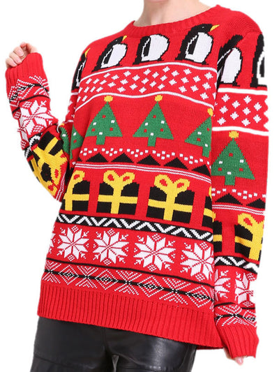 Christmas Costume Print Knitted Women Sweater