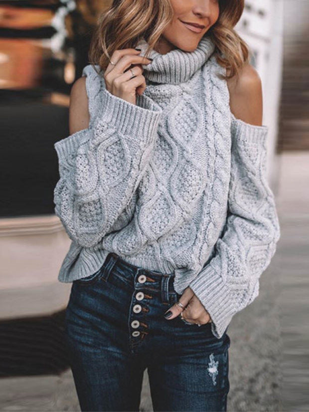 Sexy Off-The-Shoulder High Collar Knit Gray Sweater