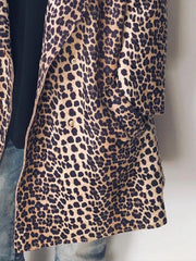 Plus Size Leopard Casual Long Sleeve Outerwear Coat
