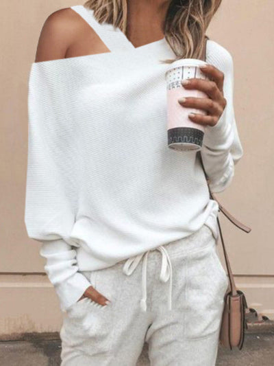 Women's Solid Color Off Shoulder Knitted Sweater