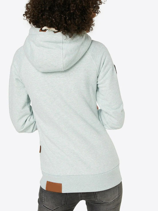 Hood Drawstring Stand-up Collar Side Pockets Long Sleeve Hoodie Top