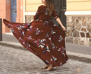 Wine Red Square Neck Floral Maxi Dress