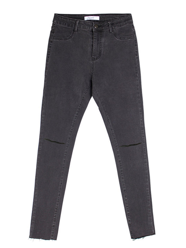 Gray Simple Slimming Pencil Pants Jeans