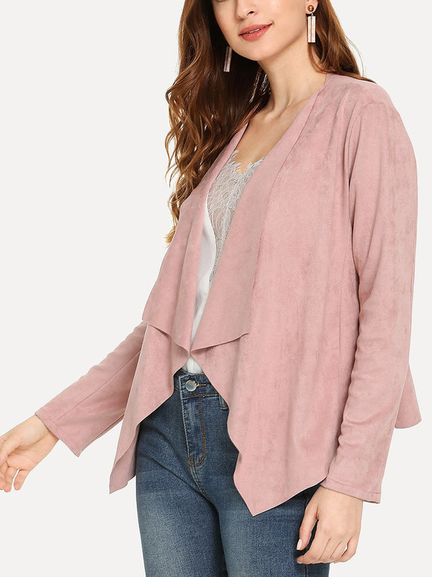 Solid Waterfall Collar Long Sleeve Asymmetrical Hem Cardigans Tops