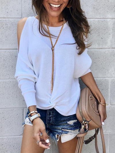 Loose Fashion Strapless Long Sleeve Irregular Crossover Knit Sweater