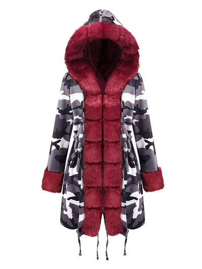 Women Drawstring Pocket Camouflage  Warm Coat