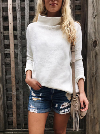 Casual Half-high Collar Solid Color Long-sleeved Knit Sweater