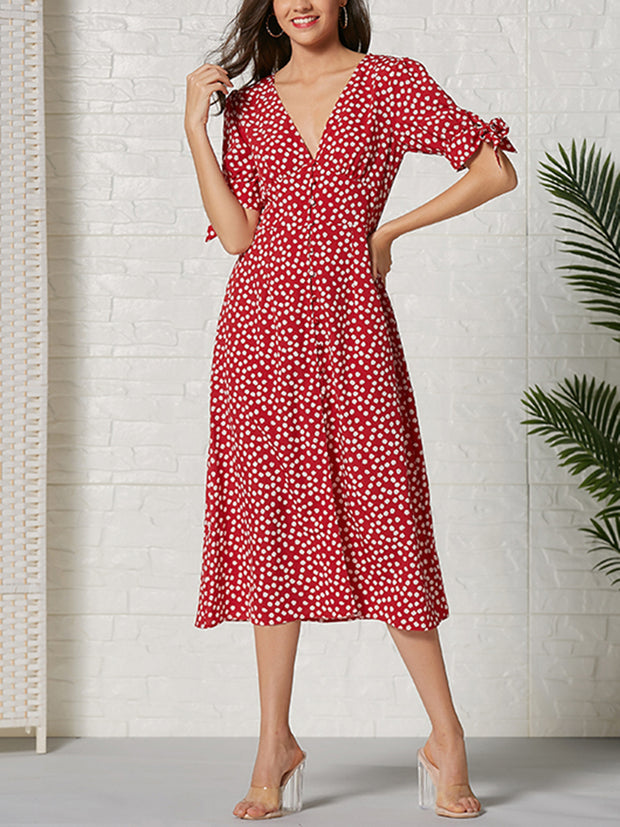 Red Short-Sleeved Printed Midi Dresses