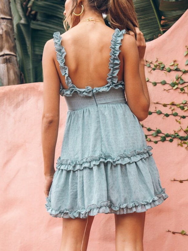 Summer Sexy Spaghetti Strap Backless High Waist Lace-Up Solid Mini Dress