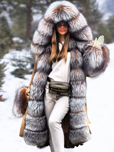 Luxury Fashion Stitching Fur Plus Long Coat