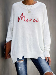 Women Casual Loose Letter Plus Size Sweater