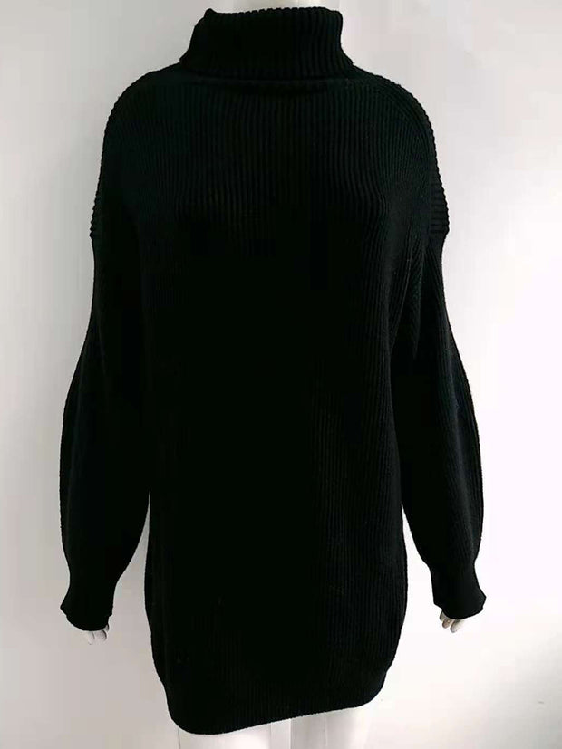 High Neck Loose Pure Color Knitted Sweater