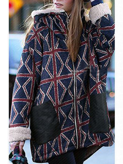 Plaid Patchwork Zipper Plush Cotton Coat