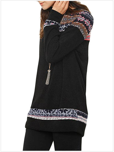 Round Neck Print Splicing Long Sleeve Sweater