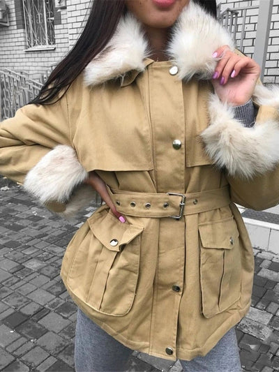Fur Neck Long Sleeve Cotton Winter Coat