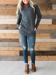 Fashion Drawstring Splice Open Pocket Long Sleeve Hoodie