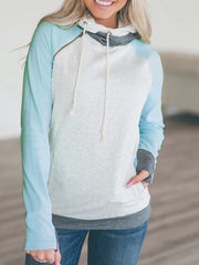 Fashion Drawstring Splice Printed Open Pocket Hoodie