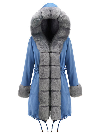 Fashion Fur Collar Drawstring Splice Warm  Coat