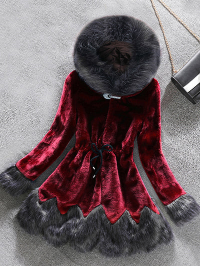 Drawstring Slim Faux Fur Long Sleeve Winter Coat
