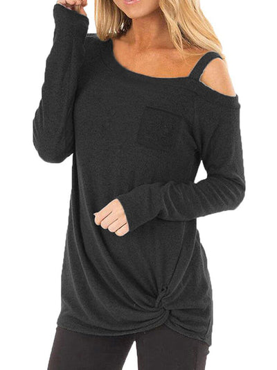 Crossed Front Design Plain One Shoulder Long Sleeves T-shirts Pullover
